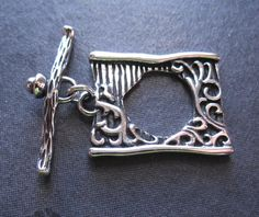 Story Book toggle clasp  artisan Sterling Silver by lilysoffering, $9.00