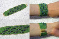 Valeria Beads: Peacock Wave Beaded Bracelet herringbone ( ndebele )