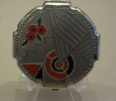 sweet deco enamel powder rouge compact, 1930s, Evans
