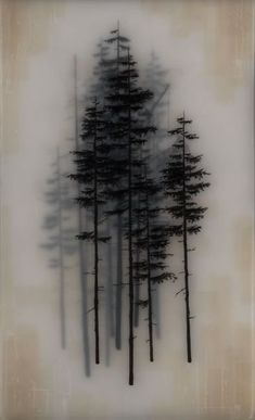 Paint black trees on vellum. Stack. Frame.