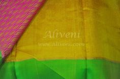 Yellow Kuppadam Tissue Saree with Roses/Leaves Pattern all over - Aliveni  - 6