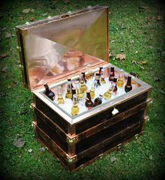 Steamer Trunk Style Cooler made from Reclaimed Wood with copper and brass accents.  Beautiful!