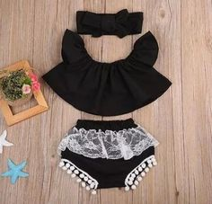 Adorable 3pc set. Baby Girls Top T-Shirt Short Sleeve Shorts Headbands 3pcs Clothing Outfit Newborn Baby Girl Clothes Set Off the Shoulder.