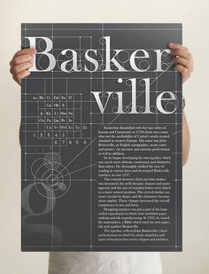 "Baskerville Type Specimen Poster | Designer:  Koyoox. The simple colors of grey and white makes this poster look very sleek and suits the style of Baskerville. The circles and grid in the background makes the poster look like a blue print of some sort. The last thing I just noticed was the subtle ""g"" in the bottom left, which balances out the piece nicely."