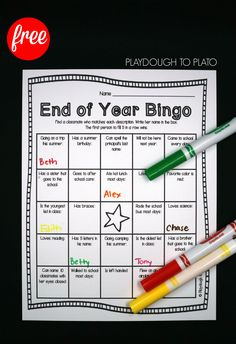 Activity for ages 5 to 8. The end of the year is always an exciting time for kids. Help students reminisce about the past school year and look forward to summer break with this fun End of the Year Bingo game. Print the freebie {below} and get ready for some friendly end of the year competition. Getting …