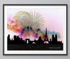 Impresión de París, Skyline, Skyline de París, arquitectura, arte urbano, impresión, cartel, arte moderno, pintura, acuarela, arte, fuegos artificiales de París, de pared