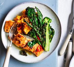 Try this Asian-inspired salmon supper with a nutty sesame dressing, crisp veg and comforting sweet potato mash. It's healthy, low-calorie and rich in omega-3