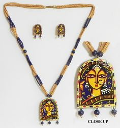 Hand Painted Woman on Terracotta Pendant and Earrings with Wgoden Bead Necklace (Terracotta and Wood))