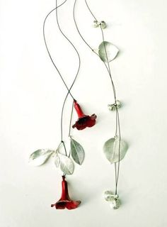 """""""Rhododendron necklace"""" by Marian Hosking. 2015. 925 silver, paints, thread."""