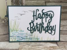 Flamingo meets Happy Birthday thinlit, in Tranquil tide. KraftingK,   Stampin'Up