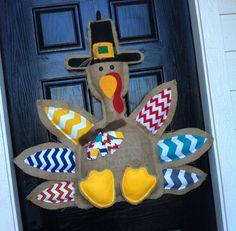 Turkey door hanger- chevron- 3D and 3 feet - thanksgiving- burlap - fall on Etsy, $65.00