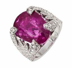 A Burmese Ruby and Diamond Ring,  by Verdura