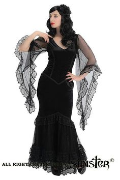 Sinister Black Gothic Gown Mesh and Fishtail 693 - Click to enlarge