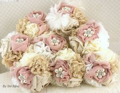 Bridesmaids Brooch Bouquets Wedding Fabric Bouquet  in Champagne and Ivory with Lace, Linen, Chiffon and Pearl Brooch