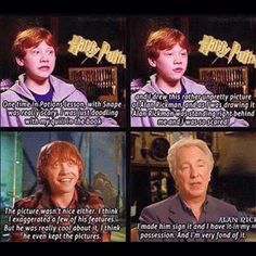 When he dared to do a caricature of Alan Rickman. | 27 Times Rupert Grint Was The Best Member Of The Harry Potter Cast