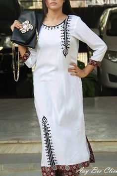 White Malai Lawn Kameez by Cuts & Kurtis