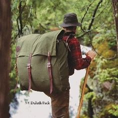 hiking- this man has figured it out... a flannel, large sack and mountains #whatmoredoyouneed