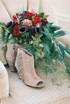 Boho booties: http://www.stylemepretty.com/2015/05/27/organic-bohemian-florida-wedding/ | Photography: Kati Rosado - http://www.katirosadophotography.com/