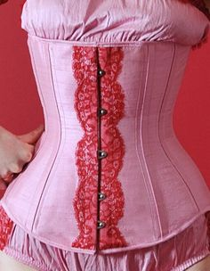 bd013dd649 UK VENDOR (Serving The UK   Ireland)  Apparel  Velda Lauder Strawberry Pink  Silk and Red Lace Underbust Corset  Buy New  £275.00  UK   Ireland Only