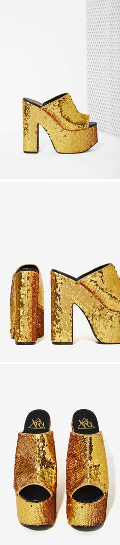 Outshine even the disco ball with these YRU Dream Gold Sequin Platforms