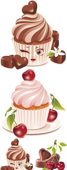 delicious desserts collection of 3 vector sets with amazing desserts ...