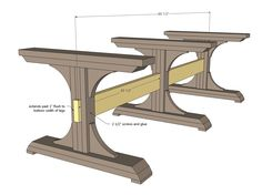 triple pedistal farmhouse table woodworking plans step 7