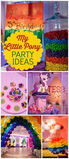 A My Little Pony girl birthday party with activity stations for dress up, face… Rainbow Dash Birthday, Rainbow Dash Party, My Little Pony Birthday Party, 5th Birthday Party Ideas, 4th Birthday, Party Fiesta, Rosalie, Unicorn Party, Party Planning