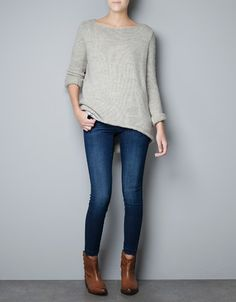 SWEATER WITH ASYMMETRIC HEM - Knitwear - Woman - New collection - ZARA United States