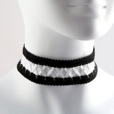 Black and White Lace Corset Choker (lolita, satin, goth, gothic,... ($17) ❤ liked on Polyvore featuring jewelry, necklaces, lolita, gothic lace chokers, lace choker necklace, goth necklace, gothic necklace and lace choker
