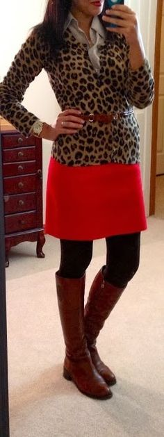 Fall Work Outfit With Leopard Top,Skirt and Long Boots