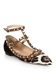 Or these.............Valentino - Rockstud Leopard-Print Calf Hair Cage Flats