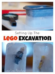 Setting up a Lego Excavation. Excellent exploration activity. Use with Apologia Chemistry and Physics, #homeschool science activity, #Lego activity    bit.ly/chemphys1