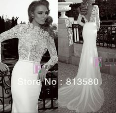 New Arrival Wedding Dresses Designer 2013 Top Lace Open Back Court Train Chiffon Bottom