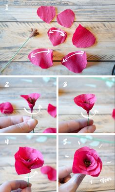DIY - Fleurs en papier crépon - Spring is coming ! Real Flowers, Paper Flowers, Diy Fleur, Arts And Crafts, Paper Crafts, Diy Bouquet, Spring Is Coming, Wedding Crafts, Pinterest Blog