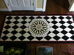 compass rose floor cloth