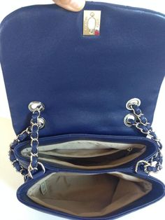 ecdbefaf76a7 Details about Auth NWT Chanel Trianon Cross body bag messanger tote Dark  Blue soft lambskin