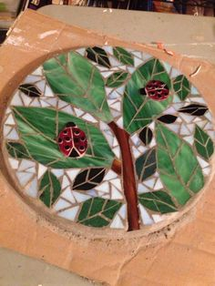 Leaves and lady bugs mosaic stepping stone