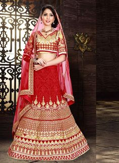 Women's Georgette Fabric & Red Pretty A Line Lehenga Style With Lace Work Dupatta