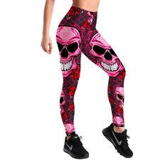 Skull Grid Rose Leggings | Skullflow Sports Leggings, Printed Leggings, Workout Leggings, Skull Leggings, Women's Leggings, Tribal Leggings, Black Leggings, Tights, Fit Women
