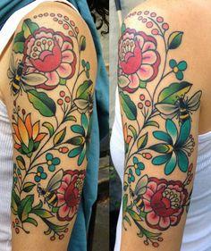Hungarian folk art inspired tattoo done by Becca Genne Bacon at The End is Near . - Hungarian folk art inspired tattoo done by Becca Genne Bacon at The End is Near … Hungarian folk art inspired tattoo done by Becca Genne Bacon at The End is Near … Pretty Tattoos, Love Tattoos, Beautiful Tattoos, Body Art Tattoos, New Tattoos, Tatoos, Tattoo Bein, 1 Tattoo, Piercing Tattoo