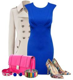 Blue cocktail dress. The accessories have to go!!!