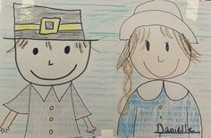 Directed Drawing Pilgrim boy and girl