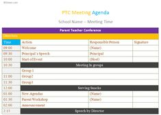 Use PTC Meeting Agenda Template To Make Your Communications Better Between  Parents And Educators  Meeting Schedule Template
