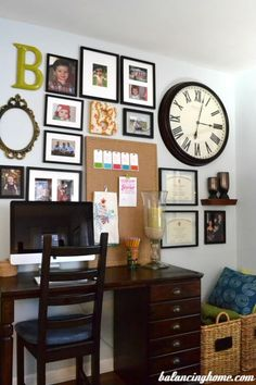 Gallery wall inspiration for your home office. #gallerywall