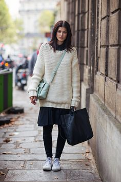 chunky knit. #LarissaHofmann #offduty in Paris.