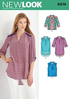 New Look 6374 Misses' Shirts with Sleeve and Length Options sewing pattern