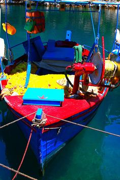 Colored fishing boat, Paxos Island, Greece
