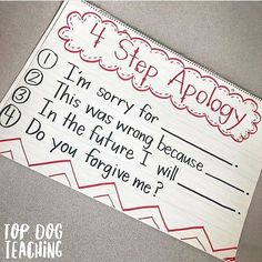 ICYMI and want to try this in We use the 4 step apology in our classroom to help kids really slow down, internalize, and sincerely reflect when saying sorry. Sometimes what kids need most isn't on the lesson plan. Tag a parent or teacher friend in t Future Classroom, School Classroom, Classroom Ideas, Classroom Behavior Management, Responsive Classroom, Social Emotional Learning, Character Education, Beginning Of School, School Counselor
