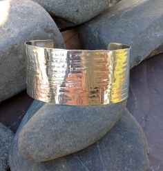 Plaid texture really wide sterling handmade cuff by saucyjewelry, $150.00