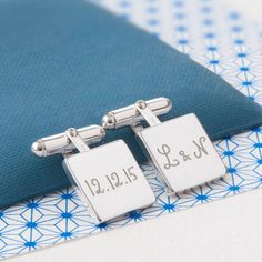 Our personalised square cufflinks are the perfect way for him to wear his loved ones on his sleeves.  Create an unforgettable present for the man in your life with these beautiful cufflinks engraved with names, dates or a short message. They will be engraved by hand by our team in our London studio and delivered to you in a beautiful orange gift box.